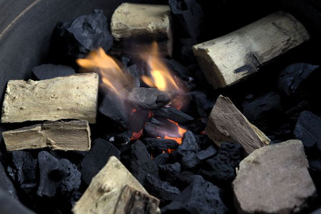Wood and charcoal for smoking