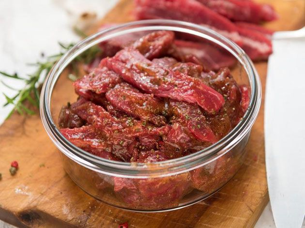raw beef meat in a bowl for marinating